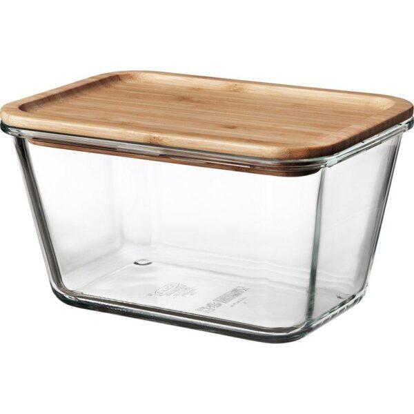 ИКЕА/365+ Контейнер для продуктов с крышкой прямоугольн формы стекло/стекло бамбук 1.8 л | Артикул: 092.690.70