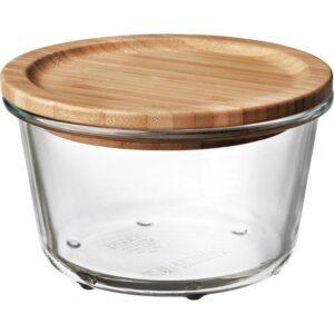ИКЕА/365+ Контейнер для продуктов с крышкой круглой формы стекло/стекло бамбук 600 мл - Артикул: 092.690.89
