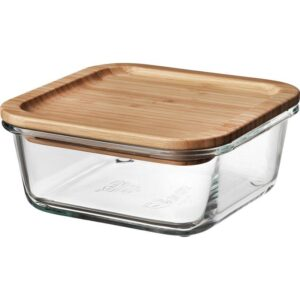 ИКЕА/365+ Контейнер для продуктов с крышкой четырехугольной формы стекло/стекло бамбук 600 мл | Артикул: 392.691.15