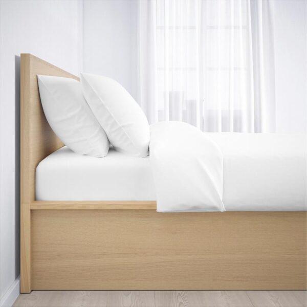 МАЛЬМ Кровать с подъемным механизмом, дубовый шпон, беленый 160x200 см. Артикул: 104.126.80