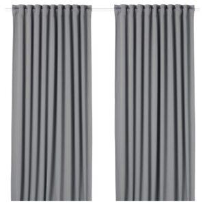 МАЙГУЛЛ Гардины, блокирующие свет, 1 пара серый 145x300 см - Артикул: 604.178.16