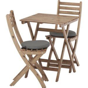АСКХОЛЬМЕН Садовый стол+2 складных стула серо-коричневая морилка/ФРЁСЁН/ДУВХОЛЬМЕН темно-серый - Артикул: 692.623.39