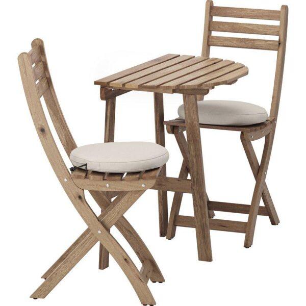 АСКХОЛЬМЕН Стол+2 складных стула д/сада серо-коричневая морилка/ФРЁСЁН/ДУВХОЛЬМЕН бежевый - Артикул: 992.623.09