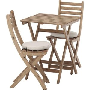 АСКХОЛЬМЕН Садовый стол+2 складных стула серо-коричневая морилка/ФРЁСЁН/ДУВХОЛЬМЕН бежевый - Артикул: 992.623.33