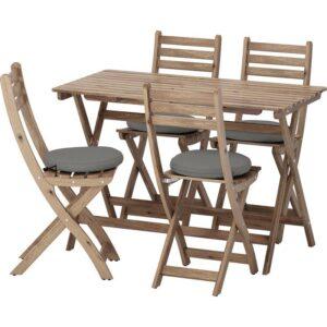 АСКХОЛЬМЕН Стол+4 складных стула, д/сада серо-коричневая морилка/ФРЁСЁН/ДУВХОЛЬМЕН темно-серый - Артикул: 892.689.86
