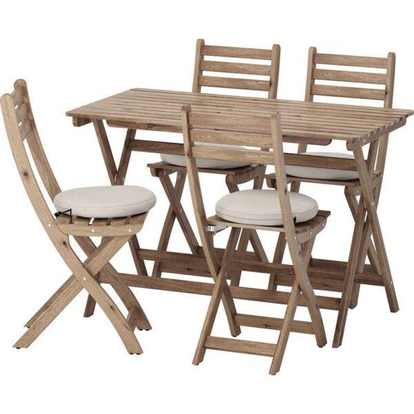 АСКХОЛЬМЕН Стол+4 складных стула, д/сада серо-коричневая морилка/ФРЁСЁН/ДУВХОЛЬМЕН бежевый - Артикул: 592.689.78