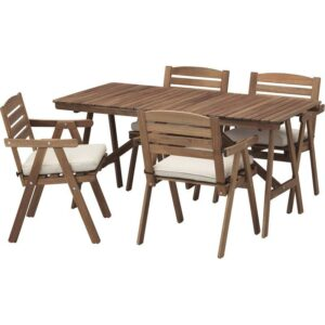 ФАЛЬХОЛЬМЕН Стол+4 кресла д/сада серо-коричневый/ФРЁСЁН/ДУВХОЛЬМЕН бежевый - Артикул: 692.690.10