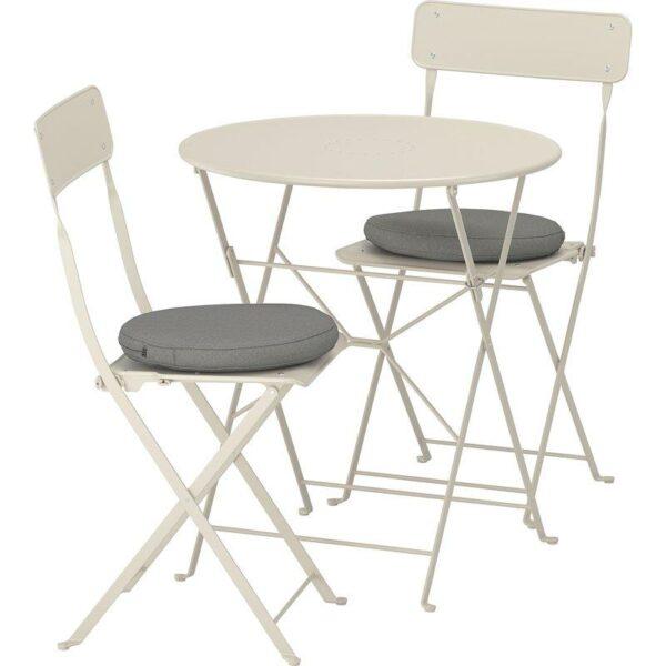 САЛЬТХОЛЬМЕН Стол+2 складных стула д/сада бежевый/ФРЁСЁН/ДУВХОЛЬМЕН темно-серый - Артикул: 492.691.34
