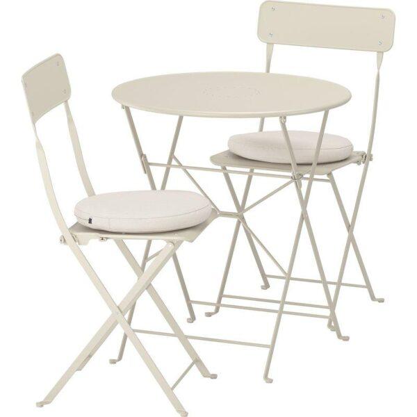 САЛЬТХОЛЬМЕН Стол+2 складных стула д/сада бежевый/ФРЁСЁН/ДУВХОЛЬМЕН бежевый - Артикул: 692.691.28