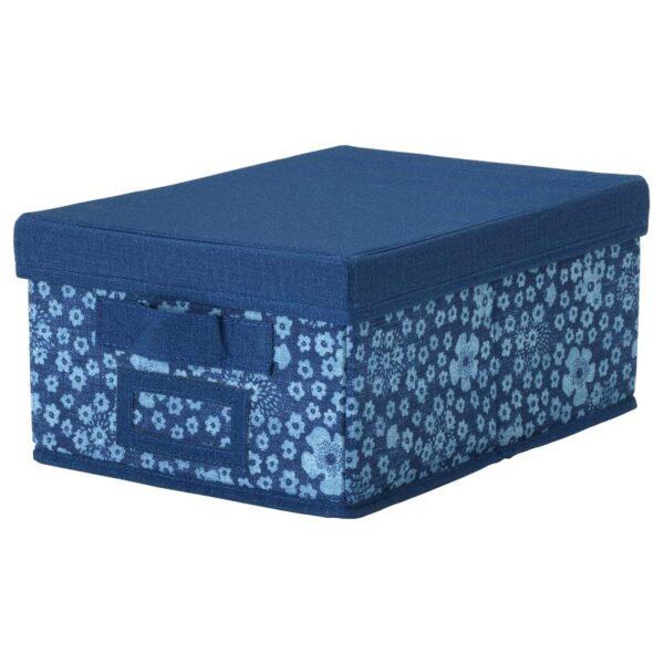 СТОРСТАББЕ Коробка с крышкой синий/белый 25x35x15 см - Артикул: 303.983.53