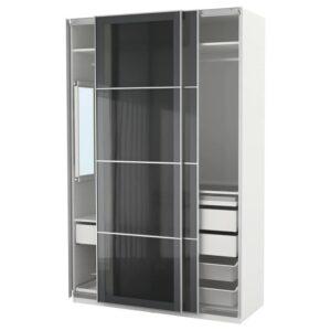 ПАКС Гардероб, белый/Уггдаль серое стекло 150x66x236 см - Артикул: 992.648.60