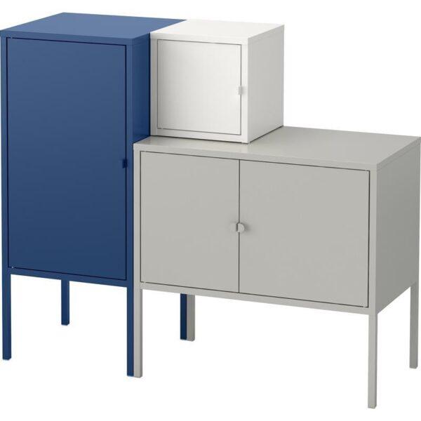 ЛИКСГУЛЬТ Комбинация д/хранения серый/белый/темно-синий 95x82 см - Артикул: 392.763.90