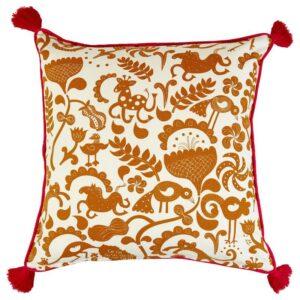 УРСПРУНГЛИГ Чехол на подушку, белый/золотисто-коричневый 50x50 см - Артикул: 004.347.48