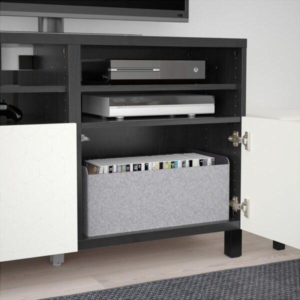 БЕСТО Тумба под ТВ, с дверцами черно-коричневый/вассвикен белый 120x40x74 см - Артикул: 192.665.99