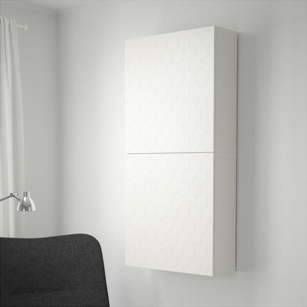 БЕСТО Навесной шкаф с 2 дверями белый/вассвикен белый 60x20x128 см - Артикул: 892.666.14