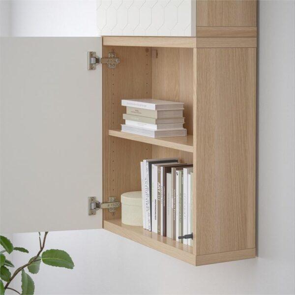 БЕСТО Навесной шкаф с 2 дверями под беленый дуб/вассвикен белый 60x20x128 см - Артикул: 792.666.19