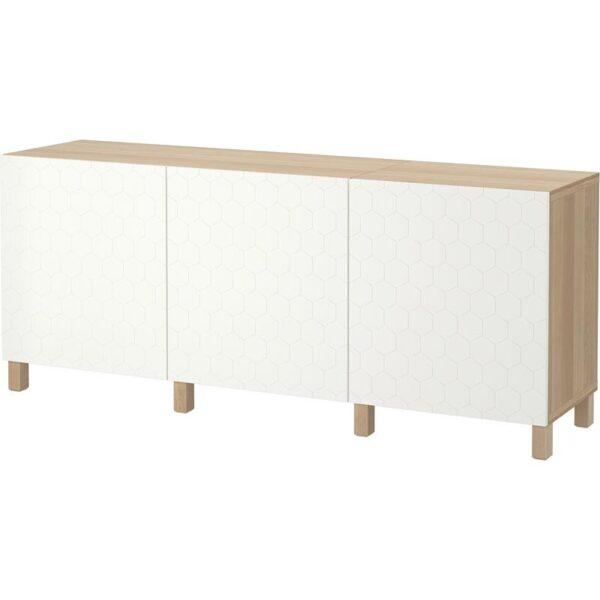 БЕСТО Комбинация для хранения с дверцами под беленый дуб/вассвикен белый 180x40x74 см - Артикул: 692.666.72