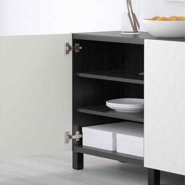 БЕСТО Комбинация для хранения с дверцами черно-коричневый/вассвикен белый 180x40x74 см - Артикул: 092.666.65