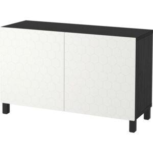 БЕСТО Комбинация для хранения с дверцами черно-коричневый/вассвикен белый 120x40x74 см - Артикул: 292.771.49