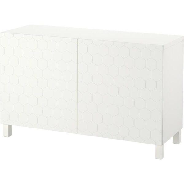 БЕСТО Комбинация для хранения с дверцами белый/вассвикен белый 120x40x74 см - Артикул: 292.771.54