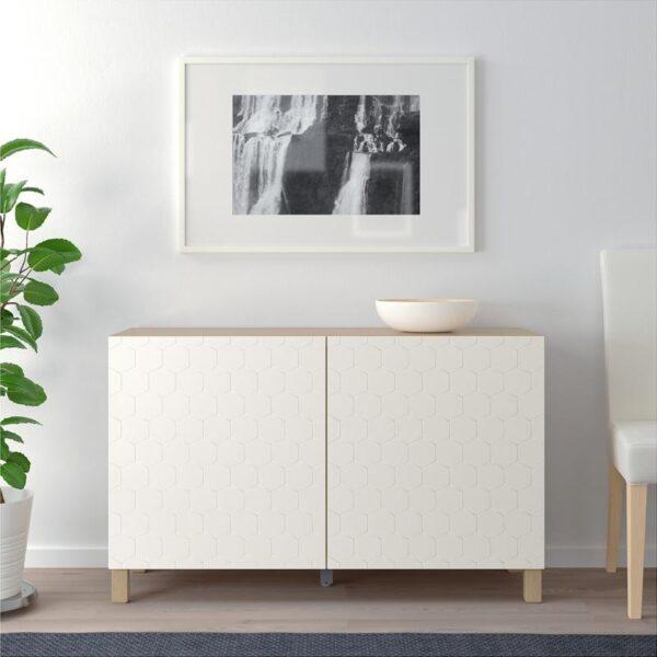 БЕСТО Комбинация для хранения с дверцами под беленый дуб/вассвикен белый 120x40x74 см - Артикул: 392.771.58