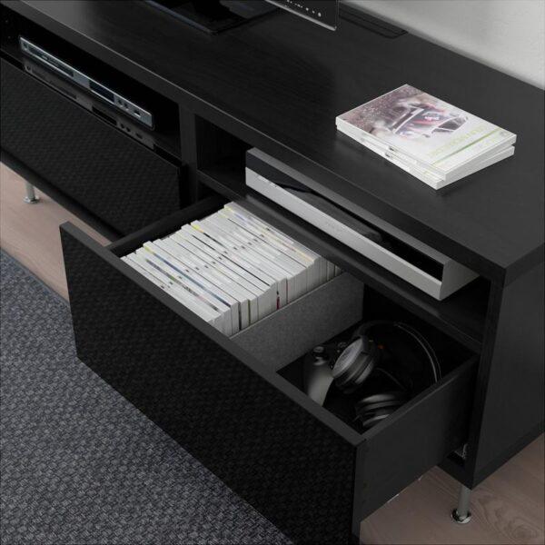 БЕСТО Тумба д/ТВ с ящиками черно-коричневый/Сельсвикен глянцевый/черный 120x40x48 см - Артикул: 792.672.04