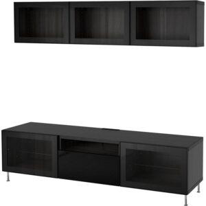 БЕСТО Шкаф для ТВ, комбин/стеклян дверцы черно-коричневый/Сельсвикен глянцевый/черный прозрачное стекло 180x20/40x166 см - Артикул: 492.681.15