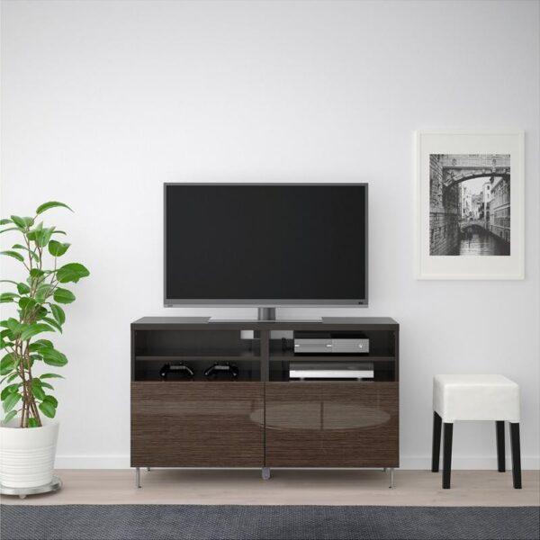 БЕСТО Тумба под ТВ, с дверцами черно-коричневый/Сельсвикен глянцевый/коричневый 120x40x74 см - Артикул: 992.682.88