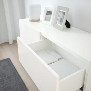 БЕСТО Комб для хран с дверц/ящ белый/Сельсвикен глянцевый/белый 120x40x74 см - Артикул: 192.684.90