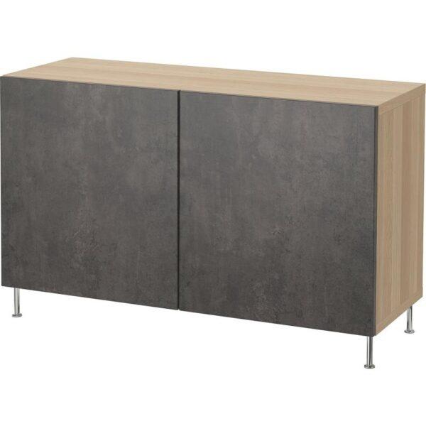 БЕСТО Комбинация для хранения с дверцами под беленый дуб Кэлльвикен/темно-серый под бетон 120x40x74 см - Артикул: 792.670.15