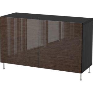 БЕСТО Комбинация для хранения с дверцами черно-коричневый/Сельсвикен глянцевый/коричневый 120x40x74 см - Артикул: 992.669.82