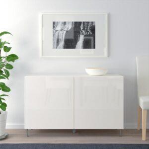 БЕСТО Комбинация для хранения с дверцами белый/Сельсвикен глянцевый/белый 120x40x74 см - Артикул: 092.669.72