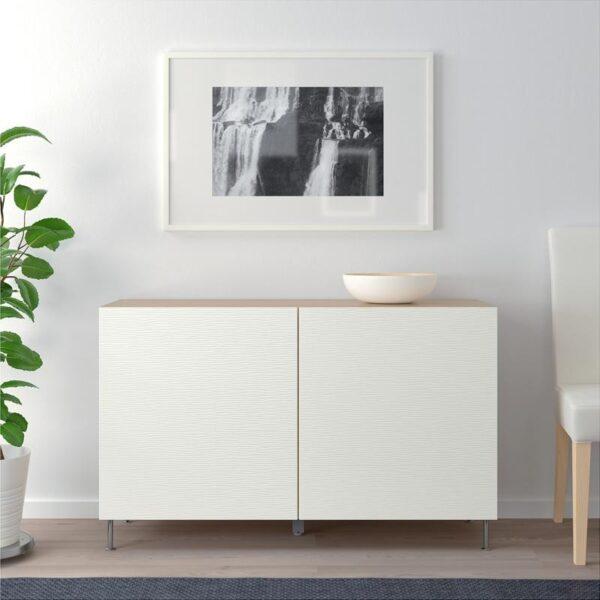 БЕСТО Комбинация для хранения с дверцами под беленый дуб/Лаксвикен белый 120x40x74 см - Артикул: 692.670.30