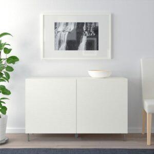 БЕСТО Комбинация для хранения с дверцами белый/Лаксвикен белый 120x40x74 см - Артикул: 592.670.16