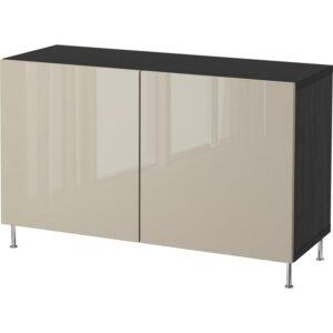 БЕСТО Комбинация для хранения с дверцами черно-коричневый/Сельсвикен глянцевый/бежевый 120x40x74 см - Артикул: 192.669.76