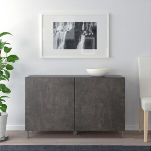 БЕСТО Комбинация для хранения с дверцами черно-коричневый Кэлльвикен/темно-серый под бетон 120x40x74 см - Артикул: 392.669.99