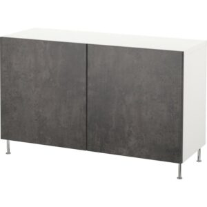 БЕСТО Комбинация для хранения с дверцами белый Кэлльвикен/темно-серый под бетон 120x40x74 см - Артикул: 492.670.12