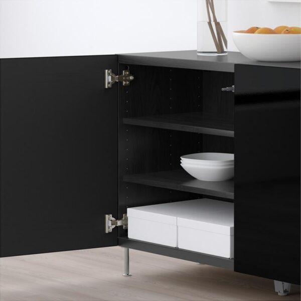 БЕСТО Комбинация для хранения с дверцами черно-коричневый/Сельсвикен глянцевый/черный 120x40x74 см - Артикул: 592.669.79