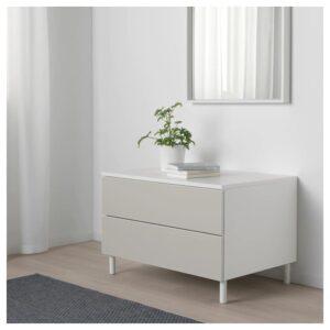 ОПХУС Комод с 2 ящиками, белый/Скатваль светло-серый 80x55x53 см - Артикул: 492.773.51