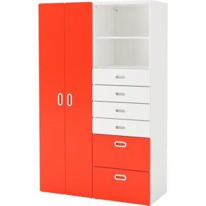 СТУВА / ФРИТИДС Шкаф платяной белый/красный 120x50x192 см | Артикул: 192.764.66