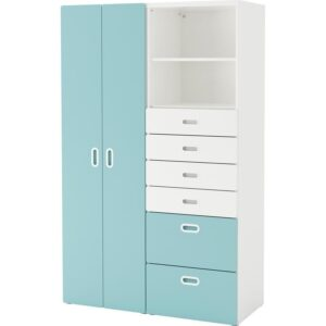 СТУВА / ФРИТИДС Шкаф платяной белый/голубой 120x50x192 см | Артикул: 092.764.43