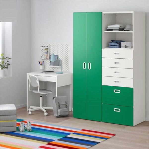 СТУВА / ФРИТИДС Шкаф платяной белый/зеленый 120x50x192 см | Артикул: 892.765.28