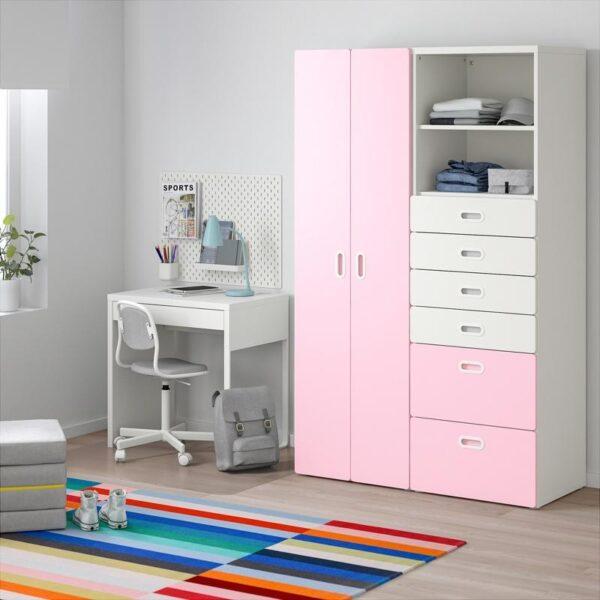 СТУВА / ФРИТИДС Шкаф платяной белый/светло-розовый 120x50x192 см | Артикул: 392.764.70