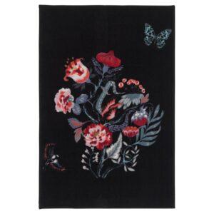 ЛОВНС Ковер, короткий ворс черный/разноцветный 60x90 см - Артикул: 104.156.93