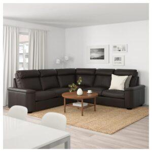 ЛИДГУЛЬТ 5-местный угловой диван, Гранн/Бумстад темно-коричневый - Артикул: 392.573.96