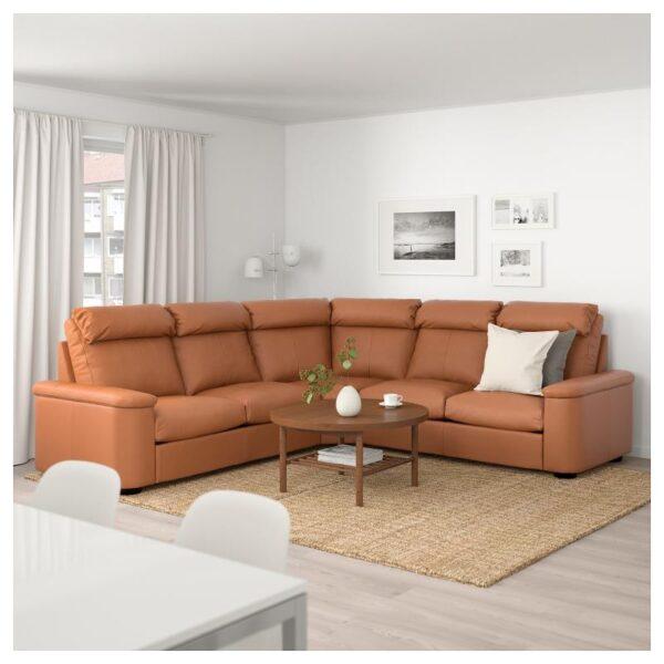ЛИДГУЛЬТ 5-местный угловой диван, Гранн/Бумстад золотисто-коричневый - Артикул: 492.579.75