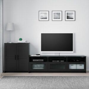 БРИМНЭС Шкаф для ТВ, комбинация черный 258x41x95 см - Артикул: 792.782.12