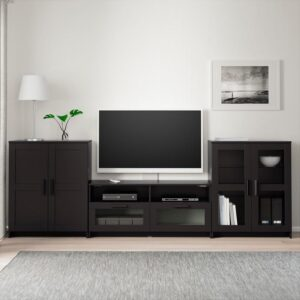 БРИМНЭС Шкаф для ТВ, комбин/стеклян дверцы черный 276x41x95 см - Артикул: 292.782.24