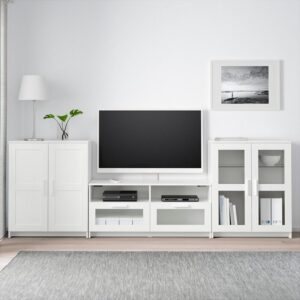 БРИМНЭС Шкаф для ТВ, комбин/стеклян дверцы белый 276x41x95 см - Артикул: 592.782.27