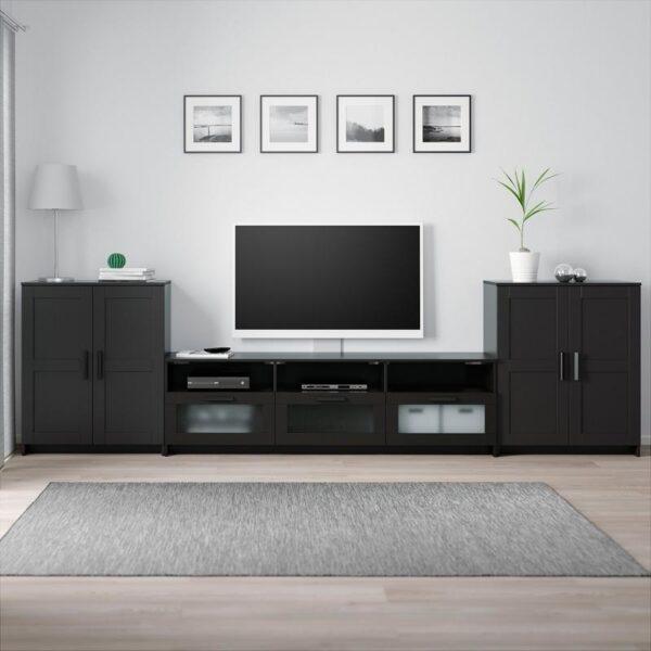 БРИМНЭС Шкаф для ТВ, комбинация черный 336x41x95 см - Артикул: 492.782.18
